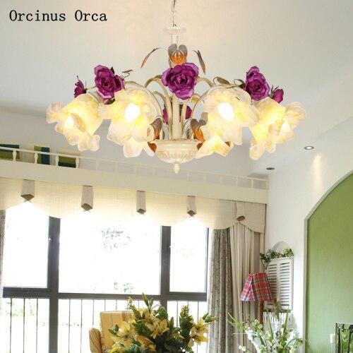Rural Retro Purple Rose Chandelier Living Room Dining Room Bedroom Creative Romantic Led Glass Flowers Chandelier