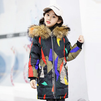 New Children's Down Jacket 12 Korean Version of The Parent child Camouflage Girl White Duck Down Real Fur Collar