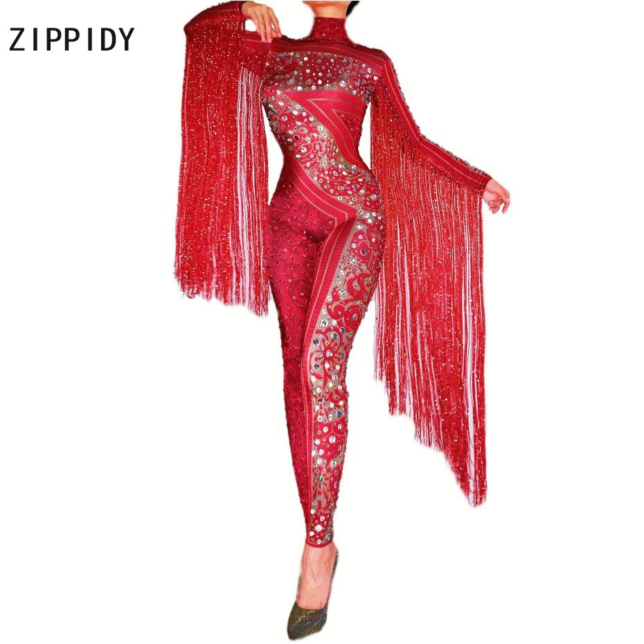 Silver Red Rhinestones Fringe Jumpsuit Birthday Celebrate Outfit Bar Dance Leggings Women Singer Dancer Outfit