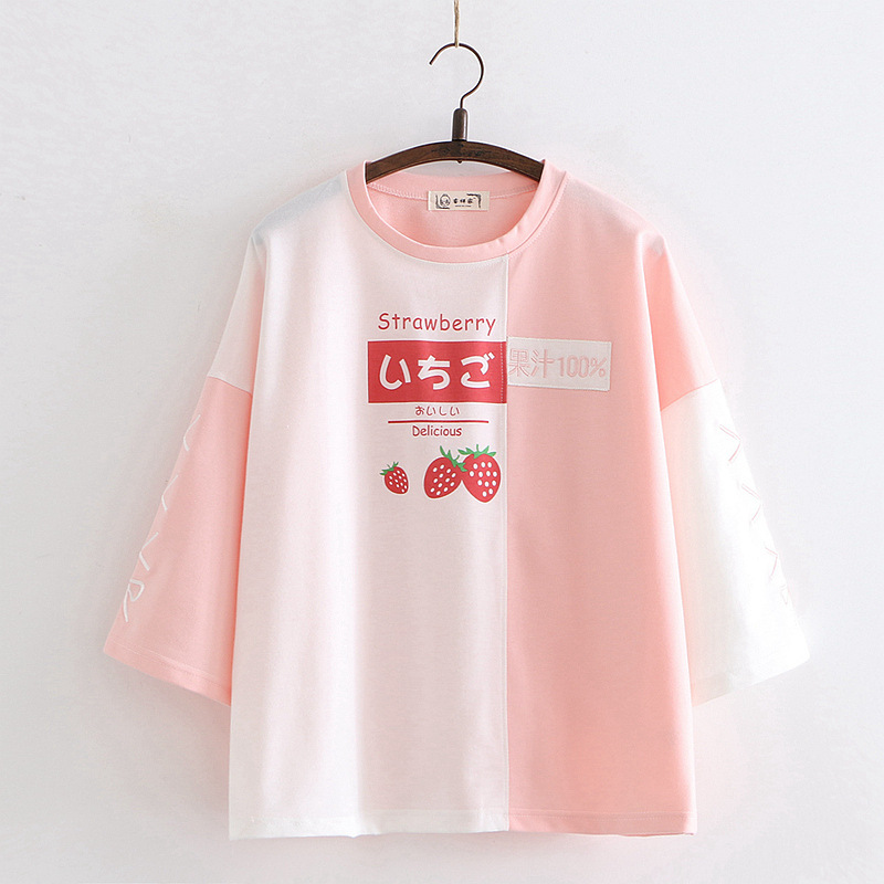 Fashion Cartoon Embroidery Three Quarter Sleeve Cotton T Shirt Women 2020 Spring Tops Base Tees Female Casual Round Neck T-Shirt