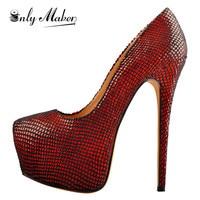 Onlymaker Women's Stiletto 16CM High Heels Platform Closed Toe Glossy Sequins Pumps Faux Suede Leather Party Shoes Plus Size
