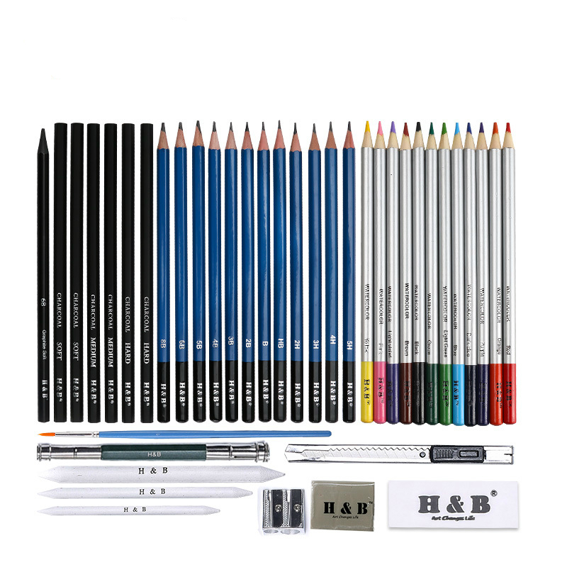desenhando lapis conjunto desenho e esboco kit 40 piece artista completo kit hb cbpb040 com ziper