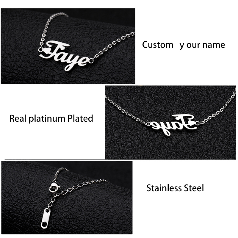 Custom Name Anklet Silver Gold Chain Stainless Steel Customized Old English Font Personalized handmade Jewelry Bridesmaid Gift