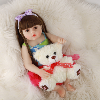 48CM Reborn Baby Doll Menina Silicone Princess Doll Lifelike Reborn Boneca Long Hair Realistic Baby Toy For Kids Birthday Gift 55cm lifelike boneca reborn baby doll soft real touch full silicone toys for children birthday gift crooked mouth doll kids