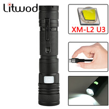 Litwod Z401301 XM-L2 U3 Micro USB Isi Ulang LED Senter Obor Zoomable 5 Mode Switch Aluminium Lanterna Flashlight Torch(China)