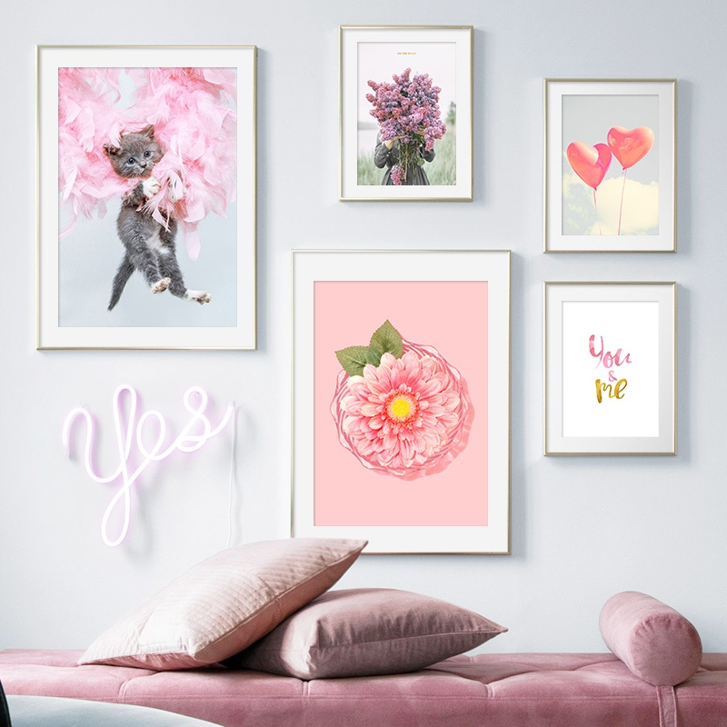 Pink Flower Feather Cat Balloon Girl Love Quote Wall Art Canvas Painting Nordic Posters And Prints Wall Pictures For Living Room in Painting Calligraphy from Home Garden