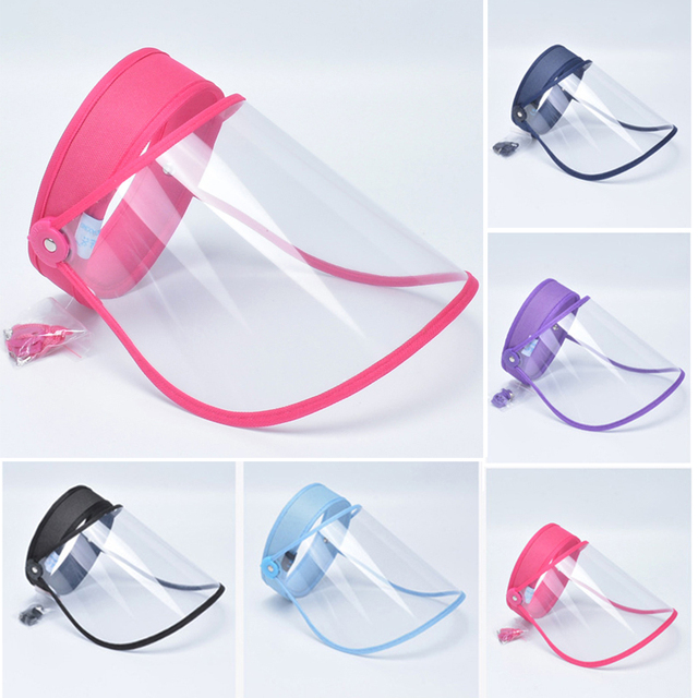 Full Face Anti-Dust Hat Cap Saliva Prevention Clear Visor Mouth Mask Face Shield With Transparent Protective Cover Women Men 5