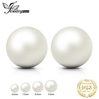 JewelryPalace Freshwater Cultured Pearl Ball Stud Earrings 925 Sterling Silver Earrings For Women Korean Earings Fashion Jewelry цена 2017