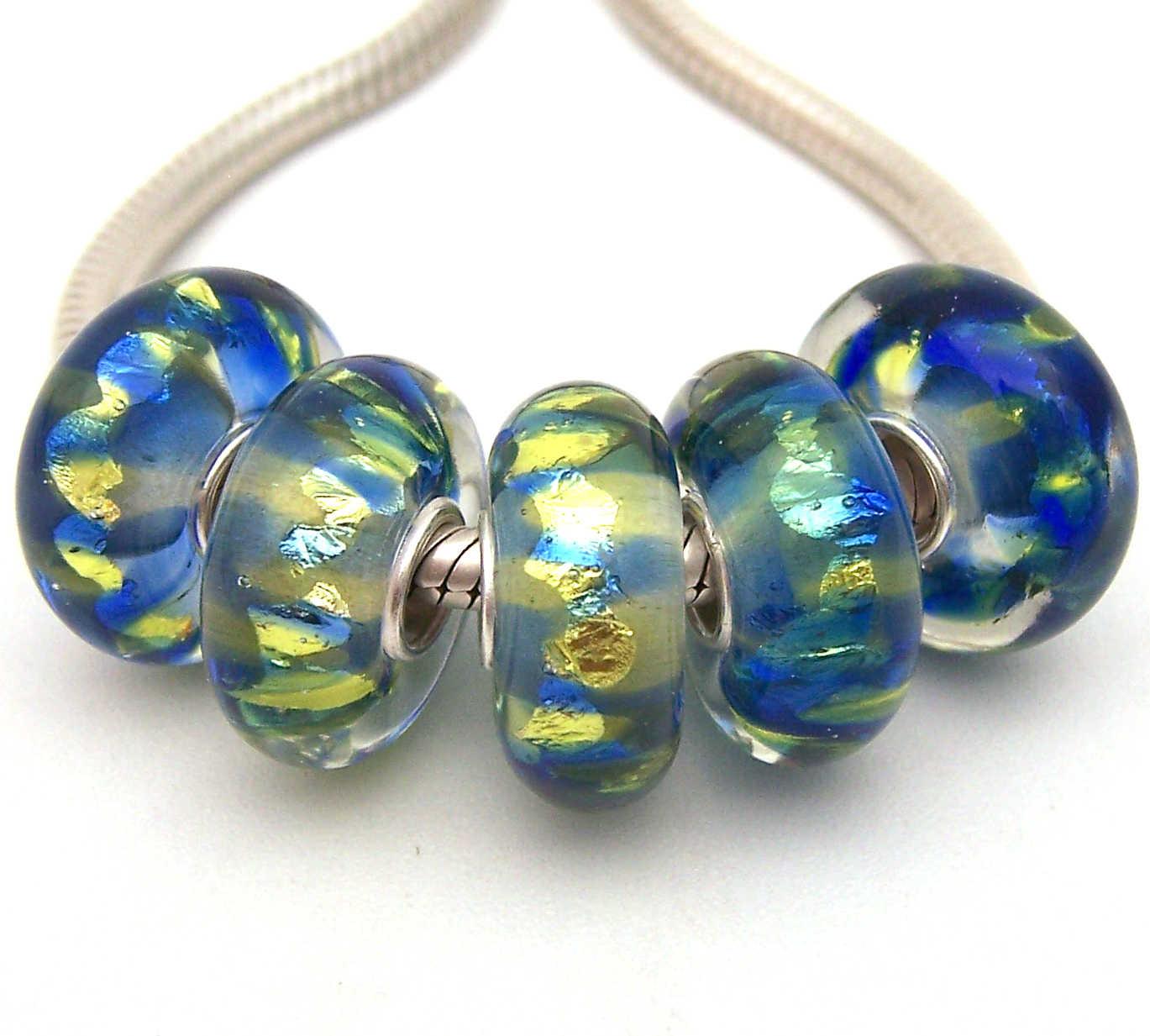 JGWGT 2231 5X 100% Autenticità S925 Sterling Silver Perle di Murano perle di Vetro Europeo Adatto Pendenti E Ciondoli Braccialetto di diy dei monili di Lampwork
