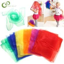 Pratique 6 couleurs gymnastique écharpes pour jeux de plein air jouets danse et jonglage serviettes bonbons couleur salle de sport serviette danse gaze ZXH