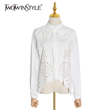 TWOTWINSTYLE Elegant Hollow Out Shirt Female Stand Collar La