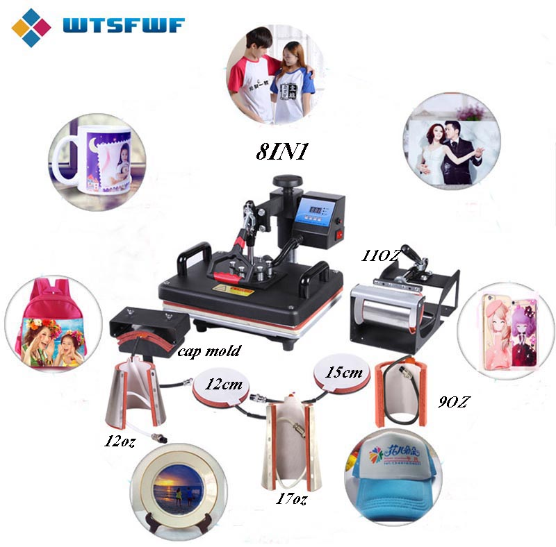 Freeshipping Wtsfwf 30*38CM 8 in 1 Combo Heat Press Machine 2D Thermal Transfer Printer for Cap Mug Plate T shirts Printing