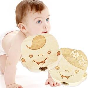 Teeth-Box Organizer Keepsakes Baby Kids Gift Chirldren-Growth-Souvenir Wooden Save Collect