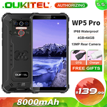 OUKITEL WP5 Pro IP68 Waterproof Smartphone 8000mAh Android 10 Triple Camera Face/Fingerprint ID 5.5 inches 4GB 64GB Mobile Phone