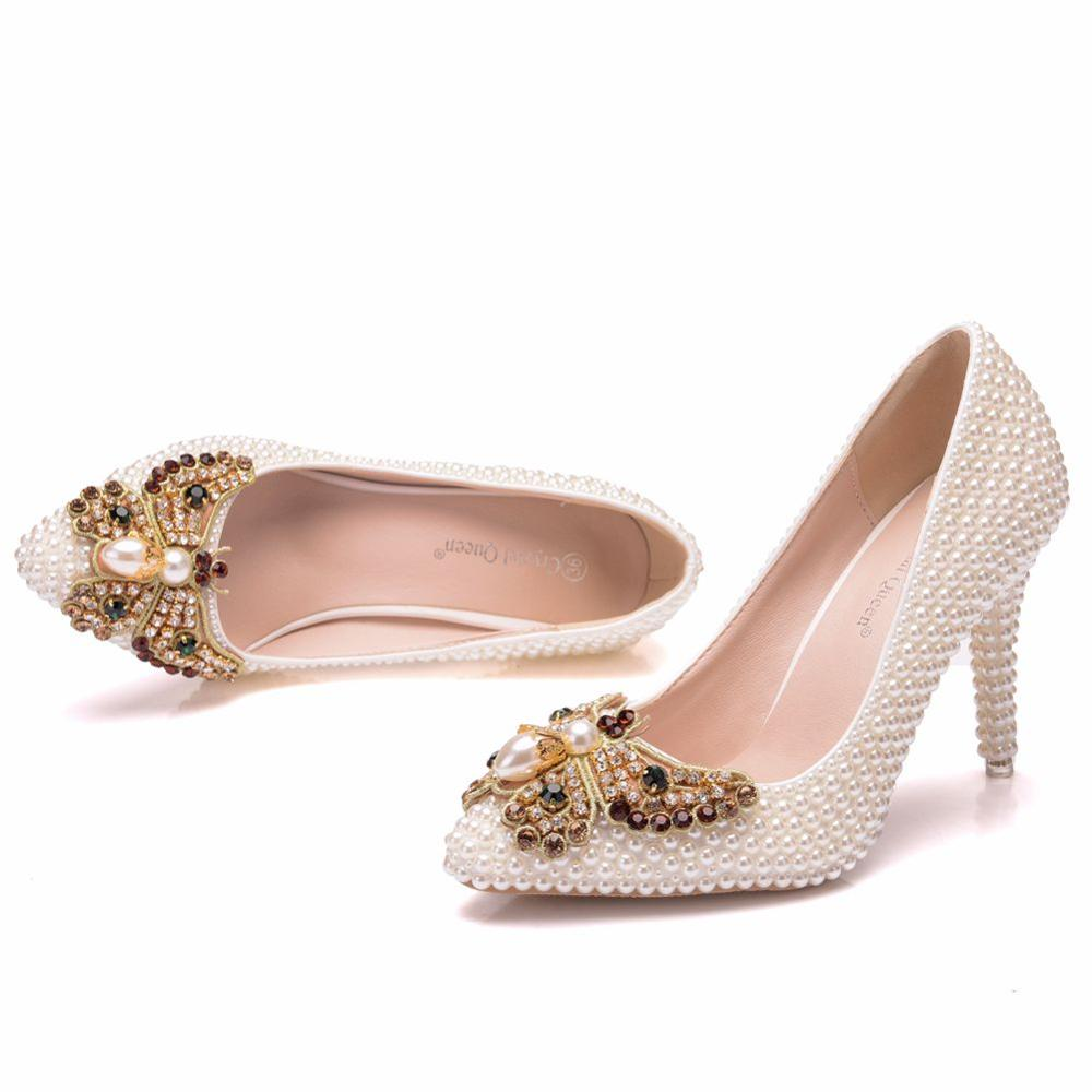 Crystal Queen High Thin Heels Shoes Women Pumps Beige Pearls Bow Rhinestone Heels Wedding Beads Party Ladies Shoes