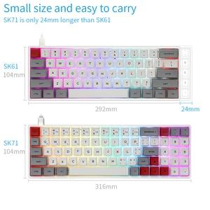 Image 5 - Skyloong SK71 Mini clavier mécanique Portable sans fil Bluetooth Mx rvb rétro éclairage clavier de jeu 71 touches commutateur GK61 Gateron