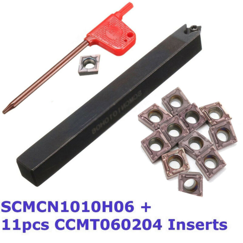 1*Holder+1*T8 Wrench+10*CCMT060204 Carbide Inserts Set Turning Tools Holder Inserts Lathe 10mm Shank Threading High Quality