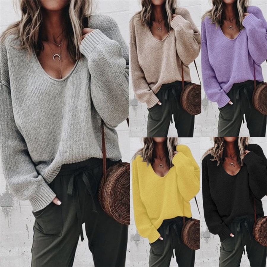 Explosive Fashion Sweater V-neck Long-sleeved Solid Color Loose Sweater Bottoming Shirt Women Sweater