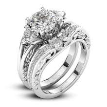 2Pcs/Set Silver Wedding Ring Set for Bridal Wedding Band Classic Engagement Ring Valentine's Day Propose Jewelry