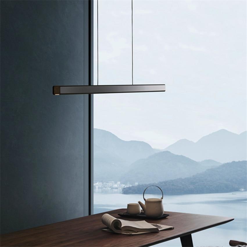 Modern Long Wood LED Pendant Iights Lighting Nordic Minimalist Aluminum LED Pendant Lamp Restaurant Study Bedroom Deco Luminarie