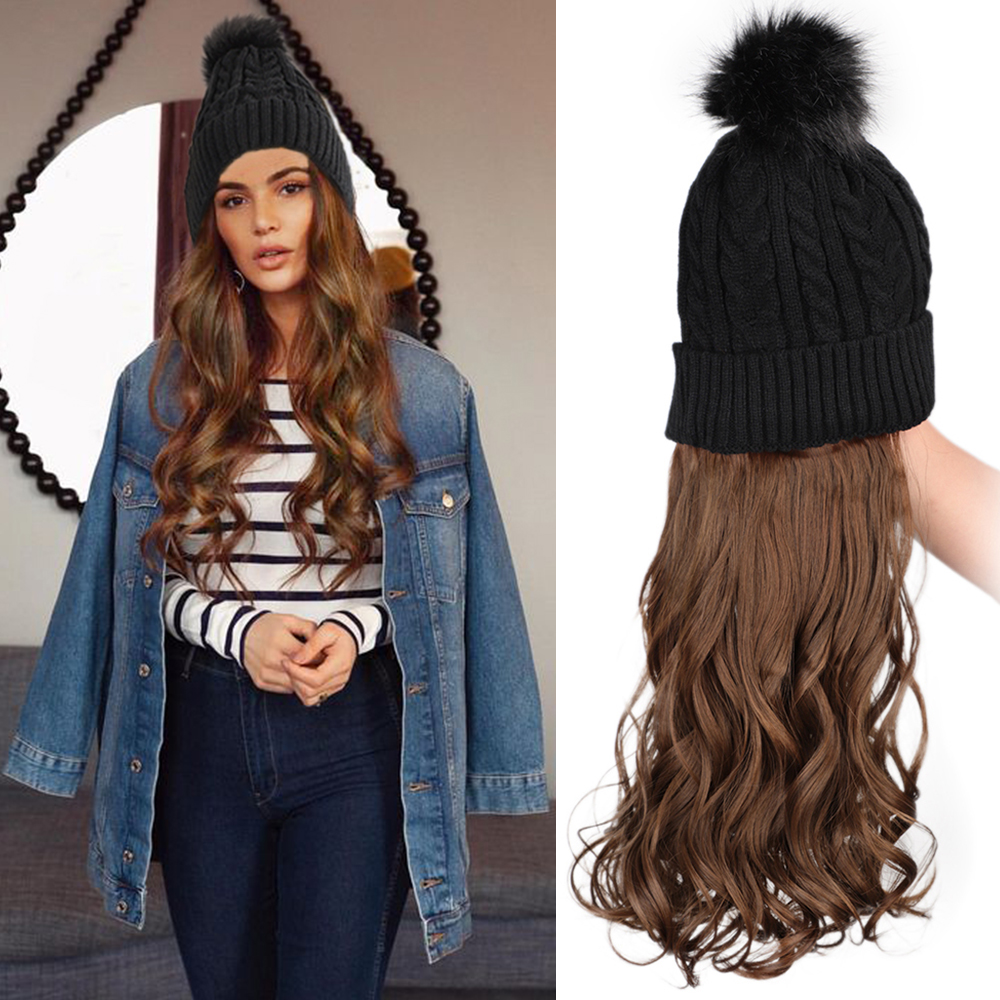 Stamped Glorious Beanie Hat With Hair Attached Synthetic Long Wavy Wig Winter Slouchy Beanie For Women Hat With Hair