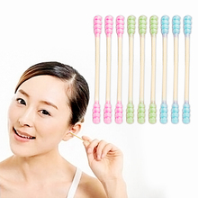 500pcs Disposable Bamboo Sticks Double-headed Cotton Swabs Women Makeup Cotton Buds for Nose Ears Cleaning Personal Care Tools