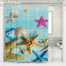 Waterproof Shower Curtains for Bathroom Home Decor Polyester Fabric 3D Starfish Multi-size Beach