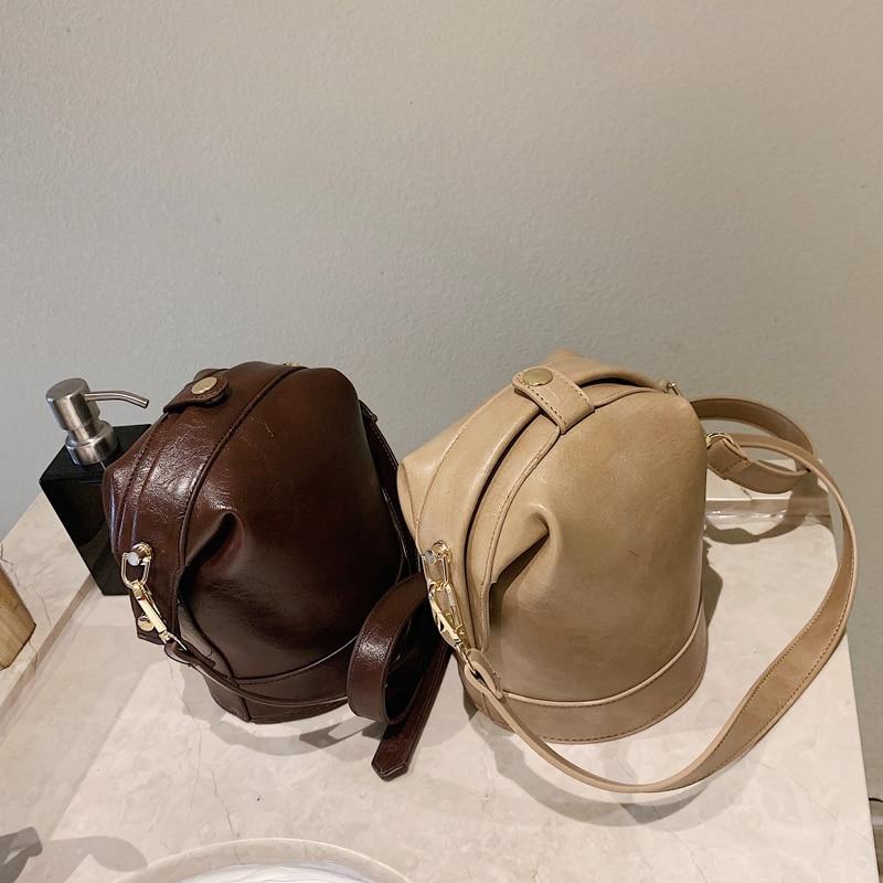 Vintage Fashion Female Small Bucket Bag 2019 New High Quality PU Leather Women's Designer Handbag Casual Shoulder Messenger Bag