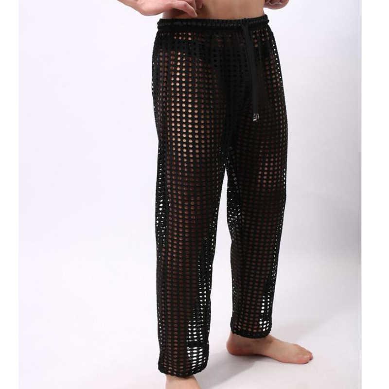 Calças de pijama dos homens sexy ver através de calças de pijama transparentes pijamas de malha respirável calças de dormir roupa interior gay