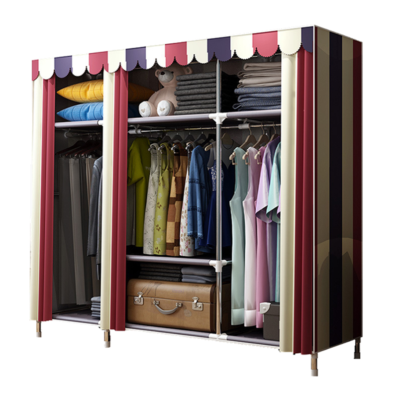 Bold Portable Stainless steel Clothes font b Closet b font Reinforced Folding Wardrobe Huge Home Rack