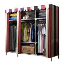 Bold Portable Stainless-steel Clothes Closet Reinforced Folding Wardrobe Huge Home Rack Storage Organizer Shelves Home Furniture