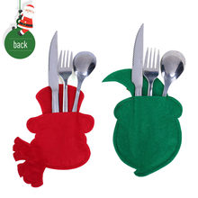 Christmas Claus Snowman Shape Fork Tableware Package Storage Covers Bag Table Stylish And Creative Kitchen Tools(China)