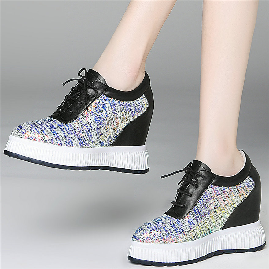 Shiny Glitter Trainers Women Lace Up Genuine Leather High Heel Fashion Sneakers Female Pointed Toe Platform Wedges Pumps Shoes