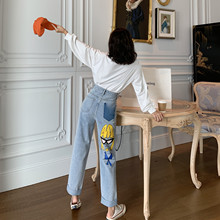JUJULAND woman blue denim straight-leg pants loose  cartoon Hand-painted graffiti jeans 3221