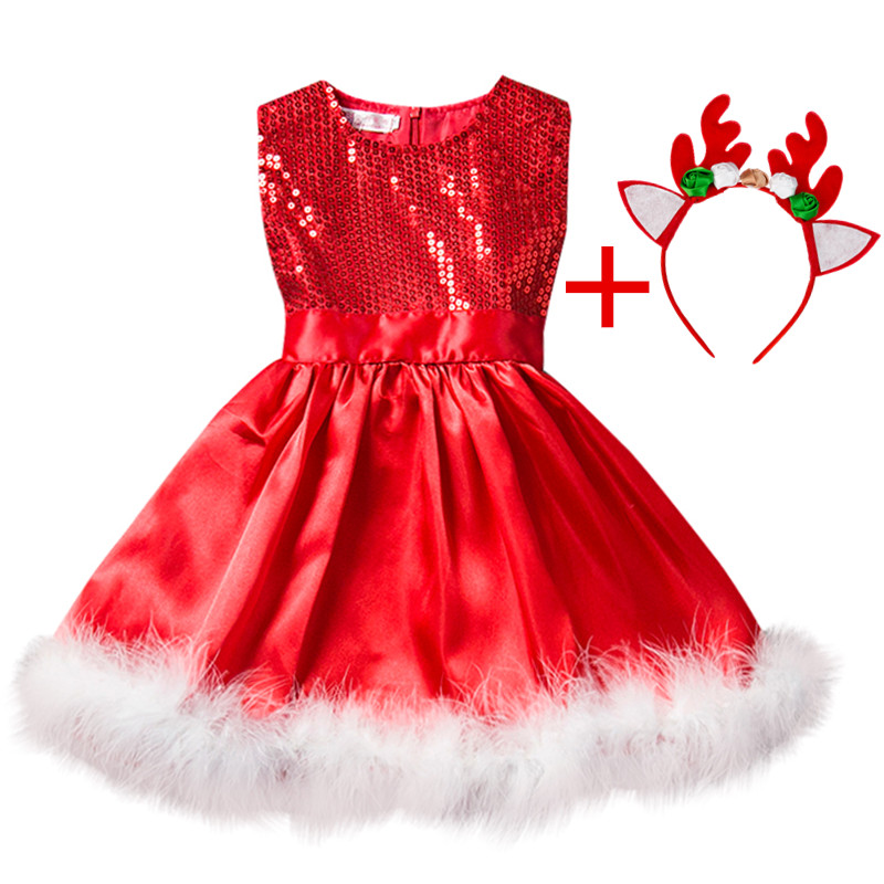 Red Christmas Dress Girl Costume Kids Dresses For Girls Baby Santa Clus Dress Up Children Party Xmas Gift Party Wear Clothes 8T