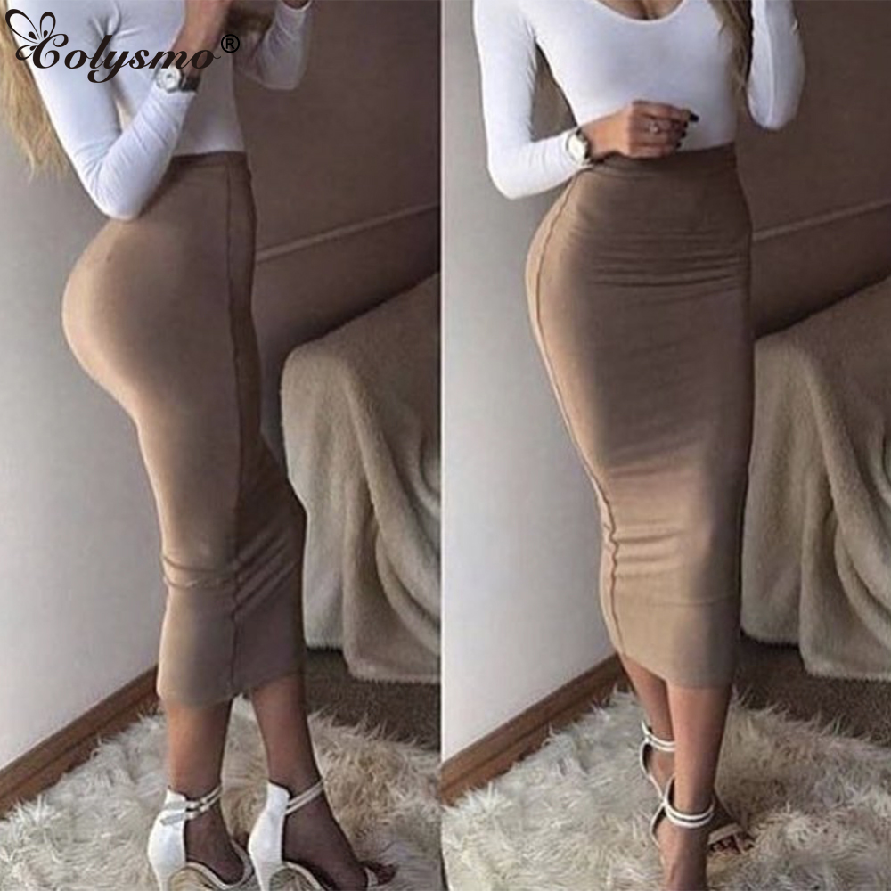 Colysmo Double Layers High Waist Pencil Midi Skirt Bodycon Long Skirt Cotton Maxi Skirt White Summer Skirts Womens Saia Midi New