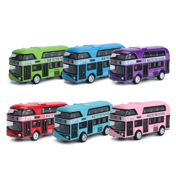 2020 New 1:43 Car Model Double-decker London Bus Alloy Diecast Vehicle Toys For Kids Boys image