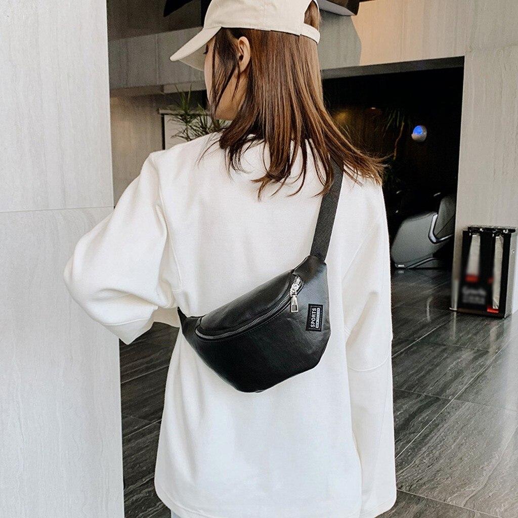 Fashion Women Chest Bag Solid Color Zipper Waist Bags PU Leather Phone Bags Fanny Pack Casual Black Belt Bag #P
