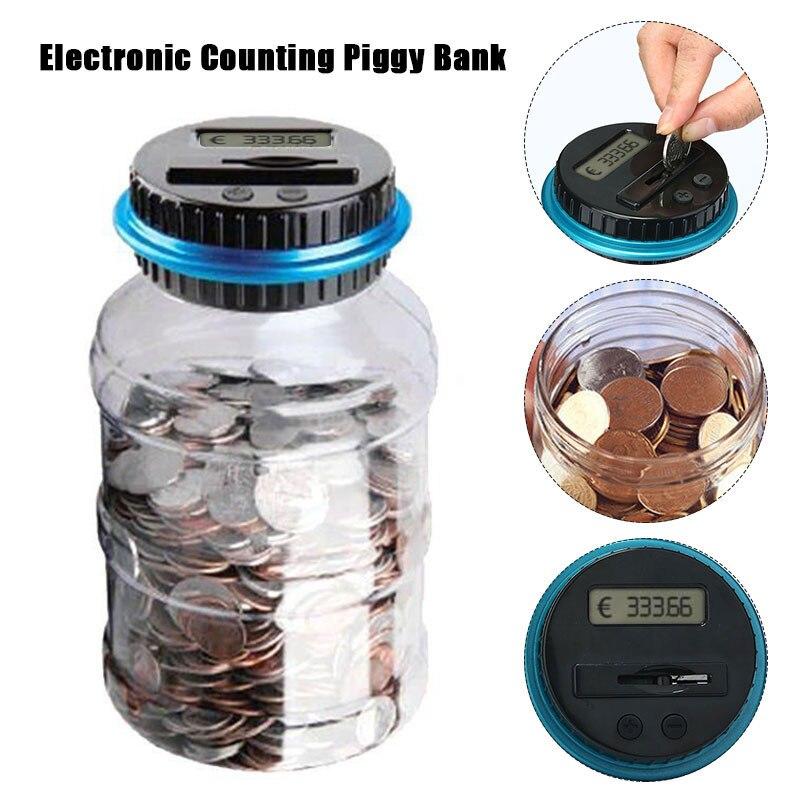 1.8L Euro Piggy Bank Counter Coin Electronic Digital LCD Counting Coin Money Saving Box Jar Coins Storage Box EURO Money Deposit