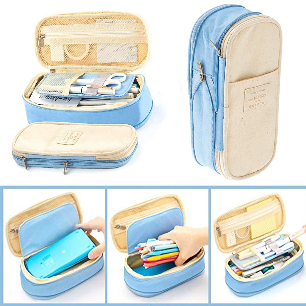 Canvas Large Capacity Pencil Case Multifunctional Zipper School Portable Simple Pencilcase Kids School Stationery
