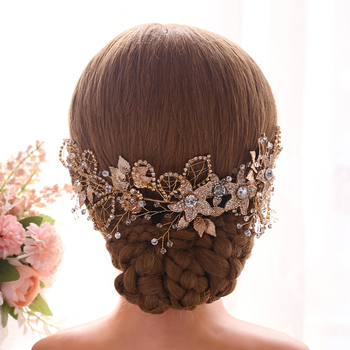 YouLaPan Golden Wedding Headband Wreath Rhinestone Floral headpiece Diamon Chain Wedding Hair Jewelry Women Hair Accessory HP282