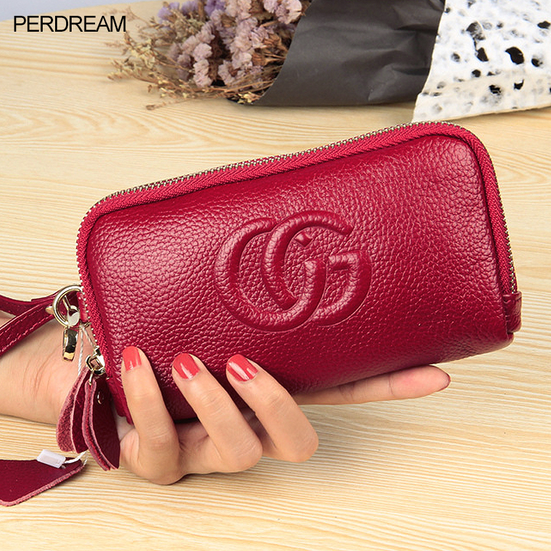 Leather European And American Fashion Long Mobile Phone Bag Double Zipper Ladies Clutch Coin Purse