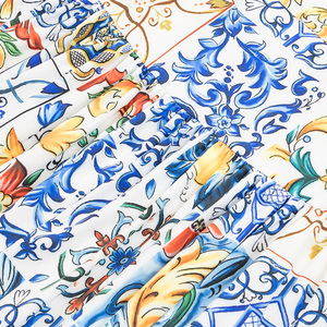 Image 4 - SEQINYY ロングスカート 2020 春秋の新ファッションデザインの女性ホワイト磁器の花フリルプリントスカートベルト