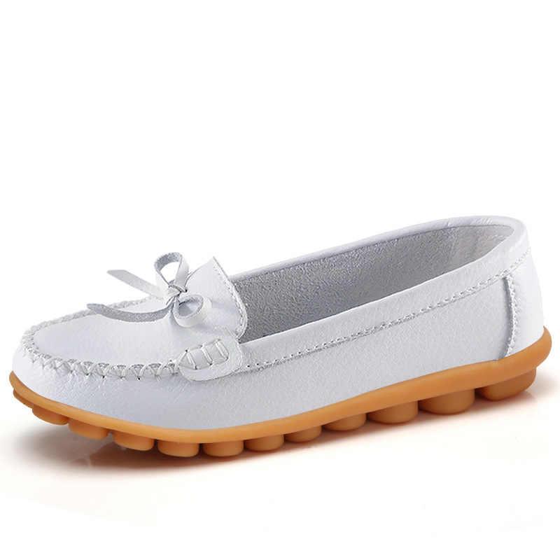 Thời Trang Đế Phẳng Giày Da Nữ Mộc Mạch Trà Plus Kích Thước Giày Nữ Đế Bằng Slip-On Nữ Giày Đi Dạo Thuyền Giày Ballerina