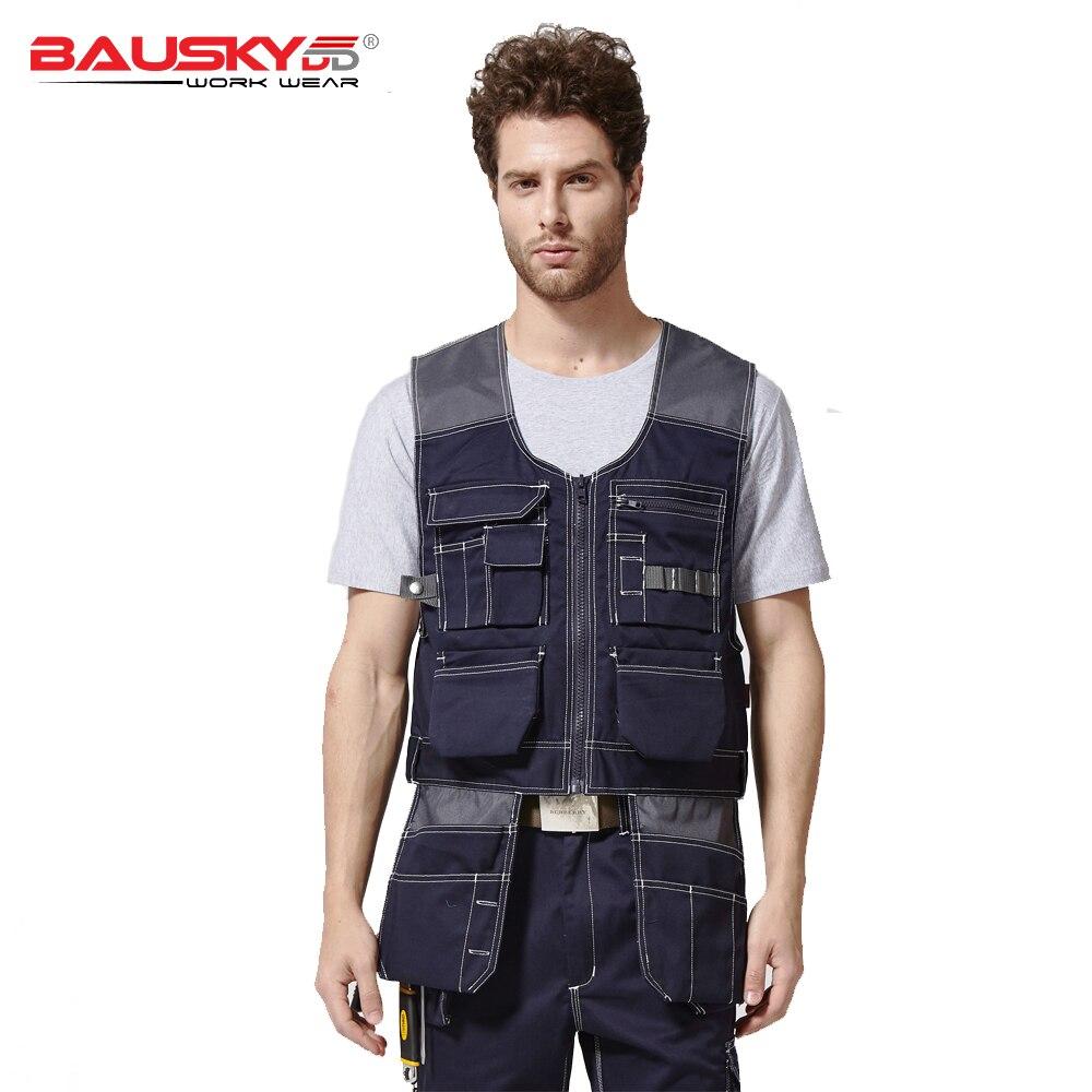 Bauskydd hommes gilet de travail charpentier mécanicien gilet vêtements de travail bleu foncé gilet de travail livraison gratuite