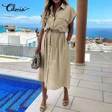 Celmia yaz Sundress kadınlar zarif elbise artı boyutu kısa kollu Casual gevşek düğmeler yüksek bel çalışma Midi Vestidos Robe S-5XL