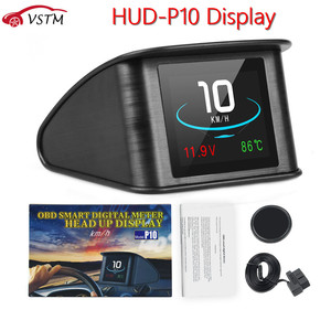 P10 Head Up Display Trip On-board Computer Car Digital OBD2 Mileage OBD Driving Computer Display Speedometer Temperature Gauge(China)