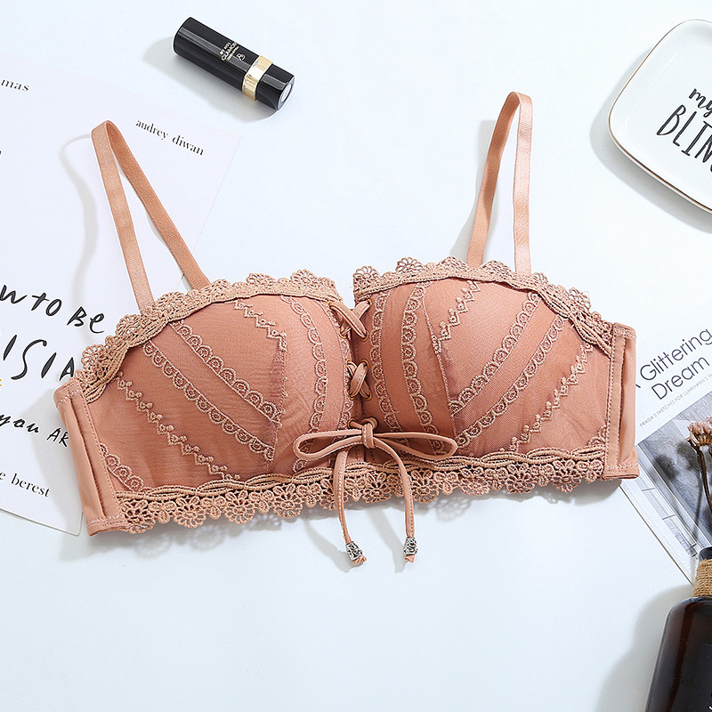 Underwear Women's Intimates Women Bras String Pull Bandeau Every Day Wire Free Back Closure Sexy Lace Bra One Piece  Push Up Bra