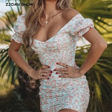 2020 New Package Hips Dot Print Short sleeve Dress Elegant Women Pleated Ruched Mid Long Party Dresses Dropped Slim fit Vestido