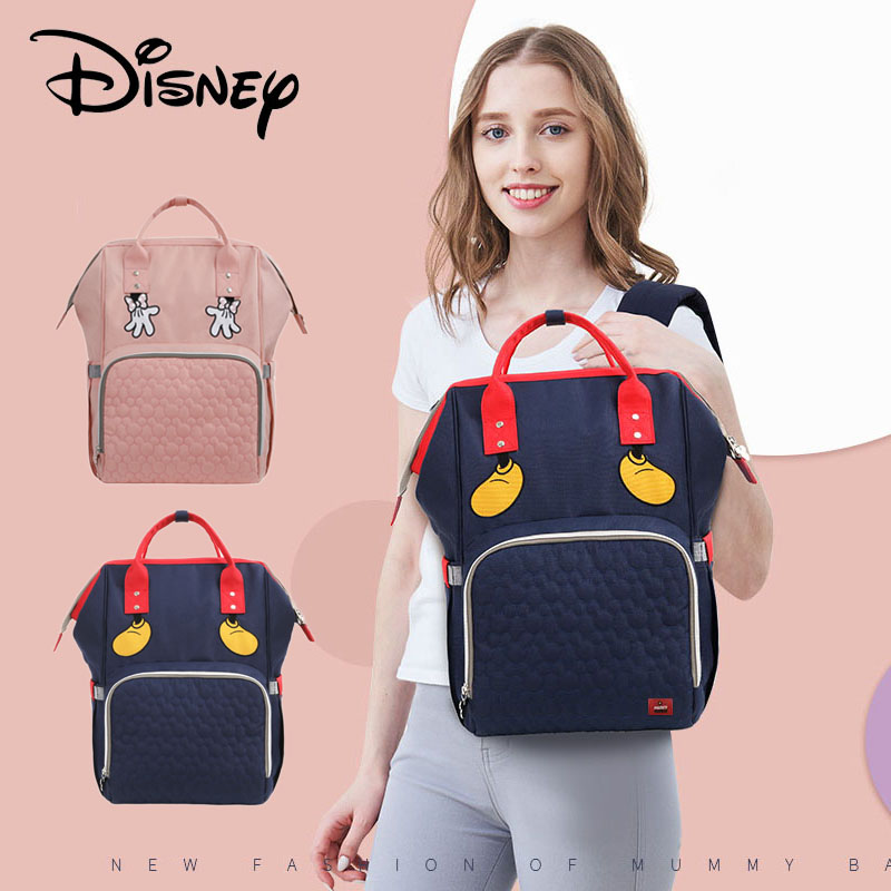 Cute Minnie Mickey Cartoon USB Baby Diaper Bag Waterproof Maternity Bag For Stroller Mummy Travel Nappy Bag Large Capacity